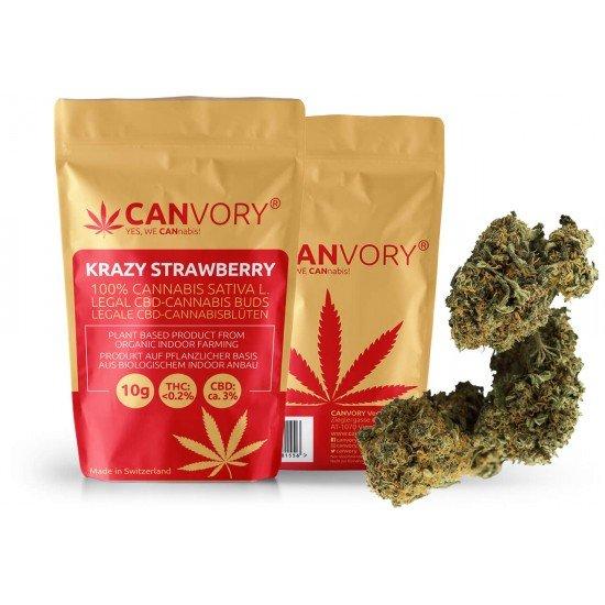 Krazy Strawberry - 3% CBD Cannabidiol Cannabis Buds, 4 gram